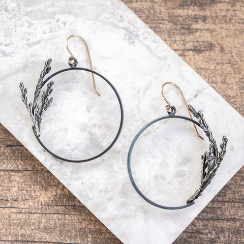 Cast Cedar + 18k Gold Hoops