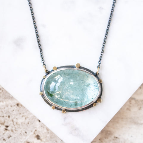 Aquamarine 18k Galaxy Orbit Necklace
