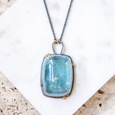Aquamarine 18k Rectangle Balance Necklace