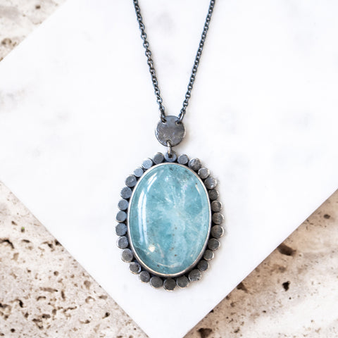 Aquamarine Oval Halo Necklace