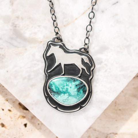 Chinese Turquoise Horse Necklace