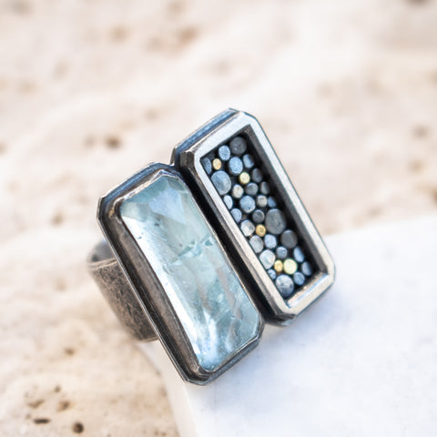 Size 7 | Aquamarine Mirror Ring