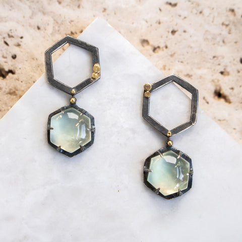Prehnite Galaxy Duo Earrings