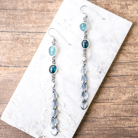 Aquamarine + Kyanite Succulent Leaf Earrings