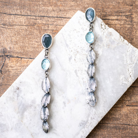 Double Aquamarine Succulent Leaf Earrings