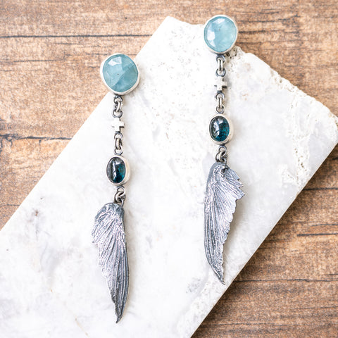 Aquamarine + Kyanite Hummingbird Wing Earrings