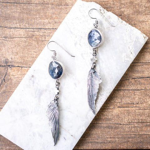 Sapphire Hummingbird Wing Earrings no.2