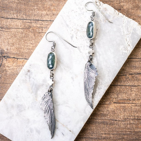 Sapphire Hummingbird Wing Earrings no.3