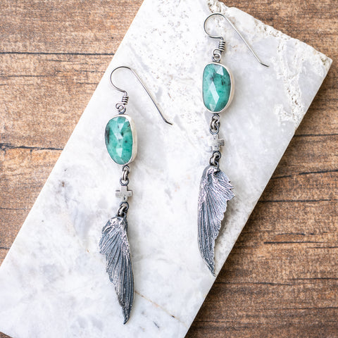 Emerald Hummingbird Wing Earrings