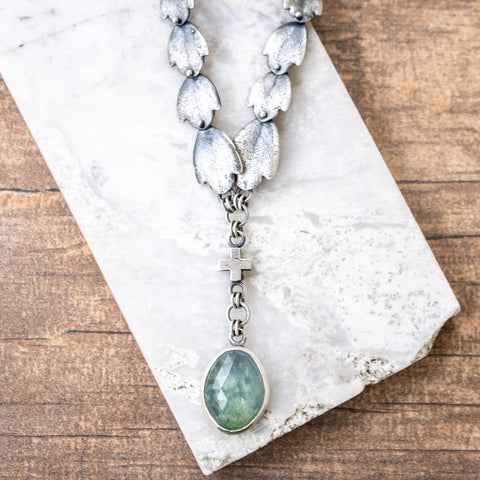 Aquamarine Succulent Leaf Necklace