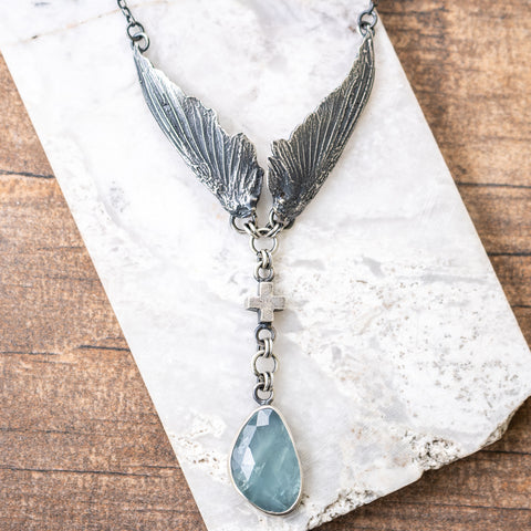 Aquamarine Hummingbird Wing Necklace