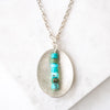 Turquoise + Silver Oval Necklace