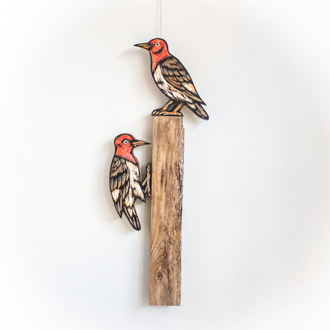 Woodpeckers on Perch | Hand Carved in Wood