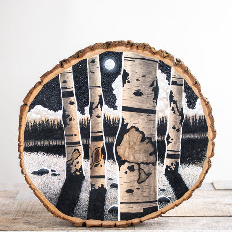 Four Birch Trees | Drawing on Wood