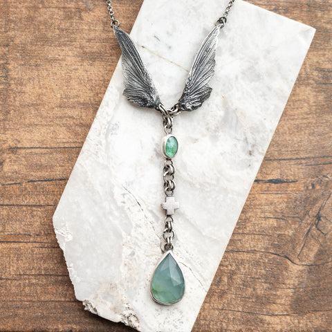 Aquamarine + Apatite Hummingbird Wing Necklace