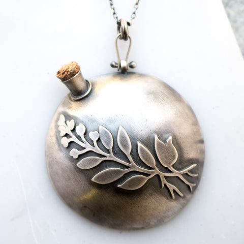 Silver Elderberry Vessel Necklace