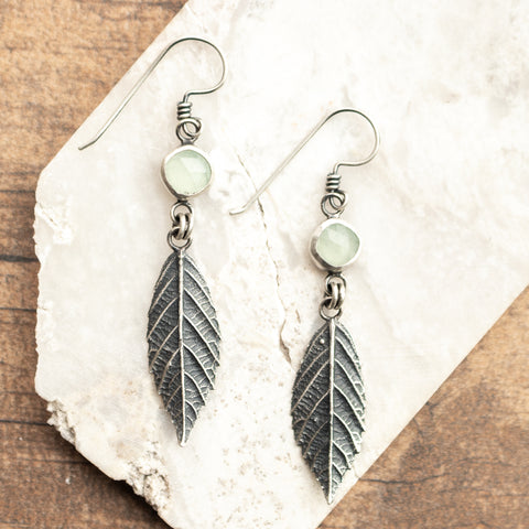 Aquamarine + Blackberry Leaf Earrings