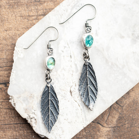 Apatite + Leaf Earrings