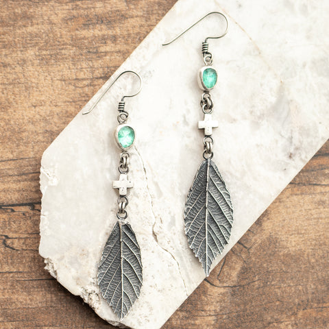 Apatite, Plus + Blackberry Leaf Earrings