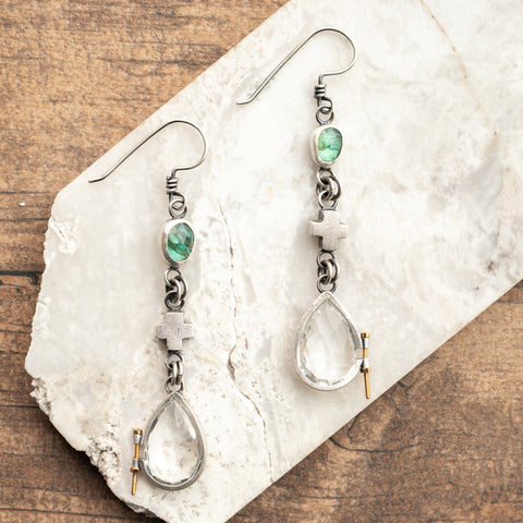 Bolted Quartz + Apatite Earrings