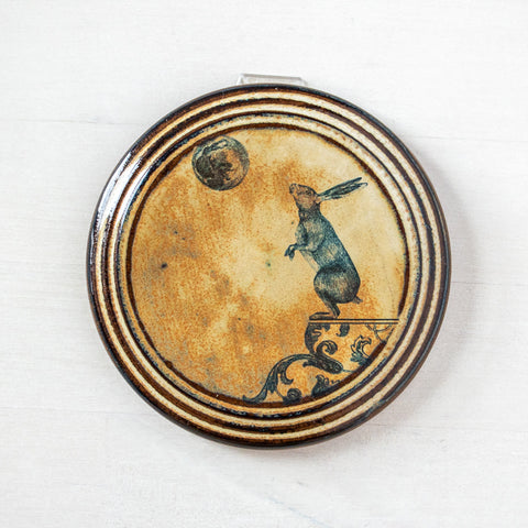Right Hare & Moon | Round Wall Tile