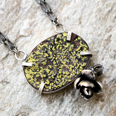 Live Lichen & Cast Succulents Necklace - Artisan's Bench