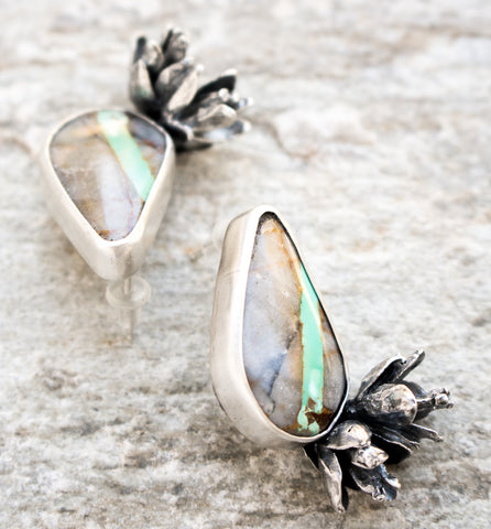 Royston Turquoise & Succulent Earrings - Artisan's Bench