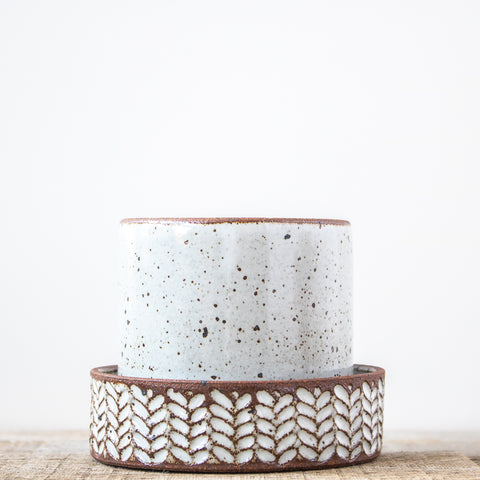 Carved Speckled Planter | White