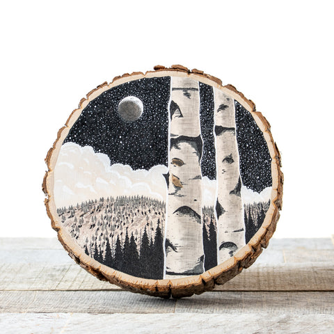 Crescent Moon Birches | Drawing on Wood