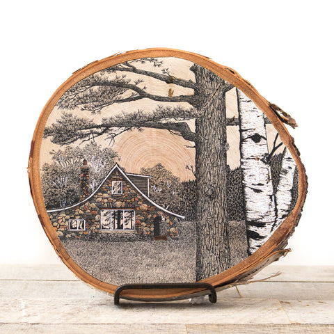 Stone Cottage | Drawing on Wood