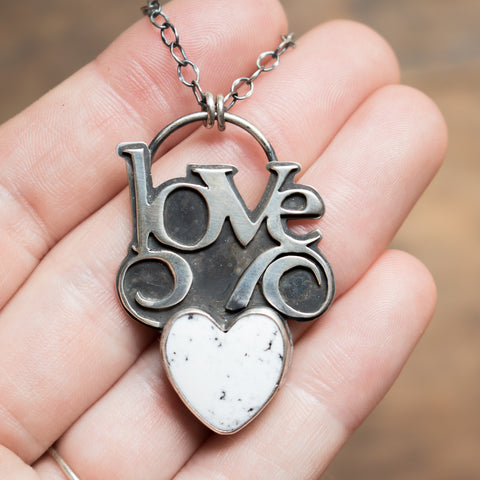 White Turquoise Love Necklace