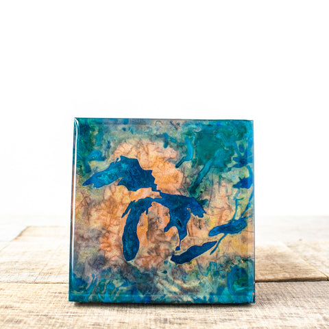Great Lakes Copper Patina Tile/Coaster | 4x4