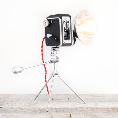 Camera and Flash on Tripod Lamp