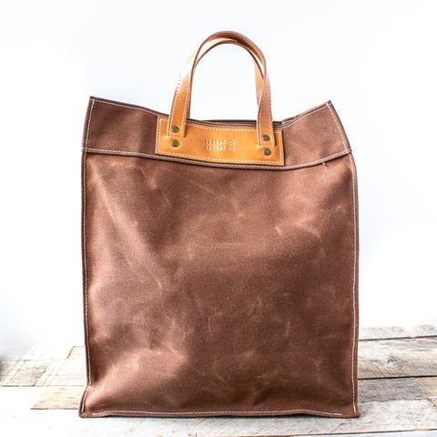 Waxed Canvas Market Tote | Earth Brown