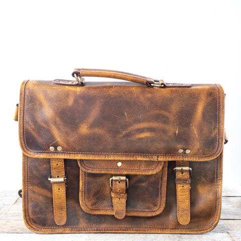 Antique Brown Buffalo Leather Satchel
