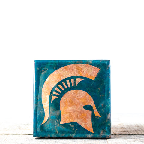 MSU Helmet Copper Tile/Coaster | 4x4