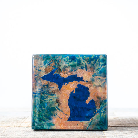 State of Michigan Copper Tile/Coaster | 4x4