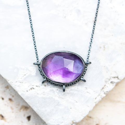 Amethyst Freeform Oxidized Necklace