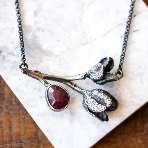 Ruby + Cast Daylily Pods Necklace