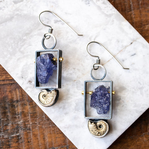 Tanzanite and Pyritized Ammonite Earrings