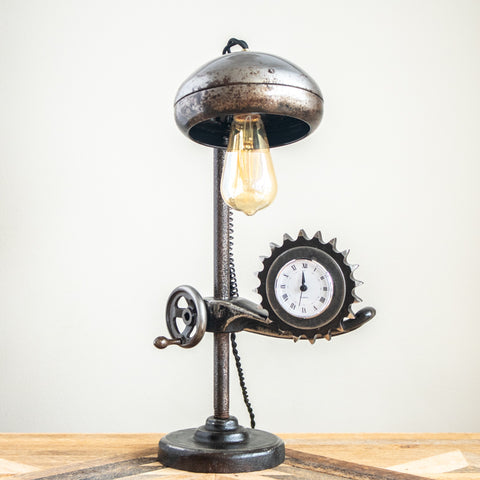 Car Headlight & Sprocket Clock Lamp