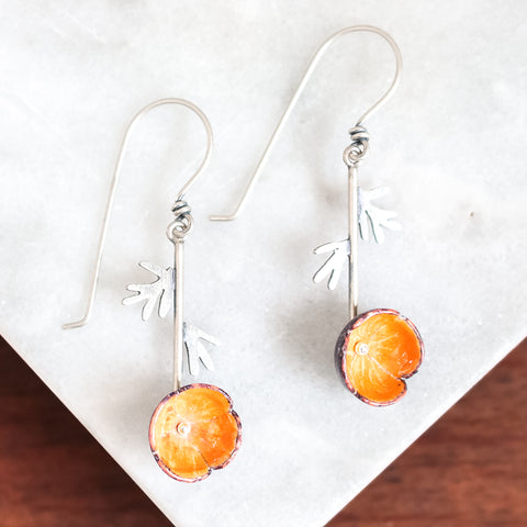 California Poppy Hanging Earrings