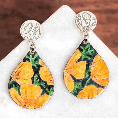 California Poppy Stud Earrings