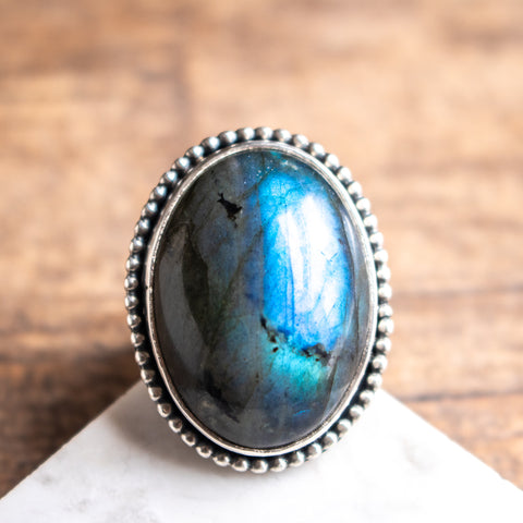 Size 9 | Domed Labradorite Ring