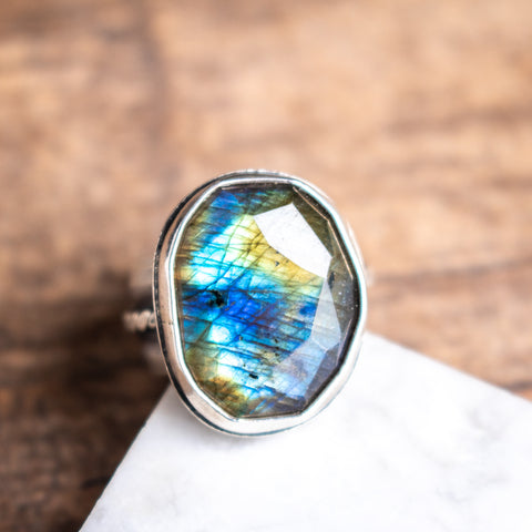 Size 7.75 | Labradorite Faceted Ring