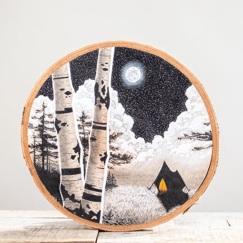 Campsite | Drawing on Wood
