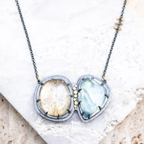 Aquamarine + Golden Quartz Galaxy Necklace
