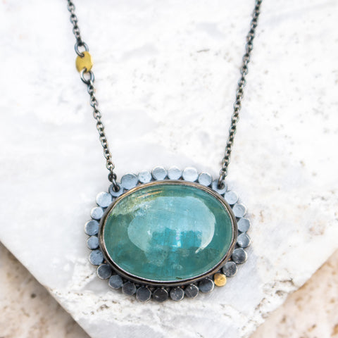 Galaxy Halo Aquamarine Necklace