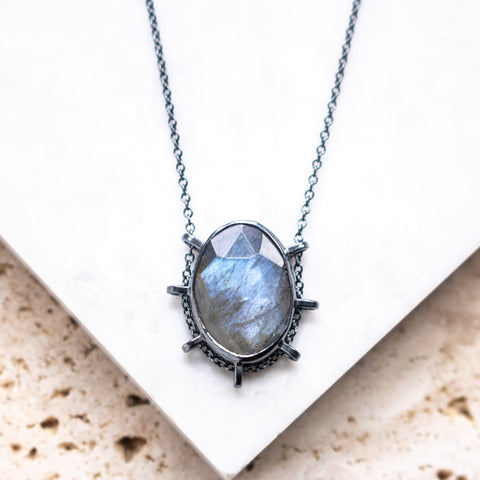 Oval Faceted Labradorite Necklace