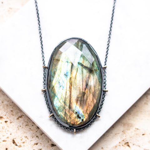 Labradorite Faceted Oval Necklace